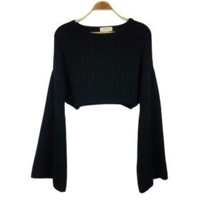 No Comment Slouchy Boho Cable Knit Cropped Sweater